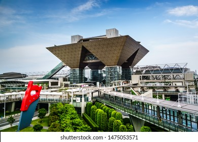 Tokyo, Japan - May 12, 2019: Tokyo Big Sight, officially known as Tokyo International Exhibition Center, is a convention and exhibition center in Tokyo, Japan, and the largest one in the country.