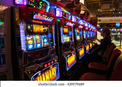 Tokyo, Japan - May 13, 2016 - Slot machine venue in Tokyo