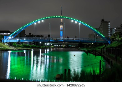 TOKYO, JAPAN - MAY 13, 2019 : Tokyo Skytree at sumida river Japan. Tokyo Skytree is a broadcasting tower and the tallest structure in Japan.