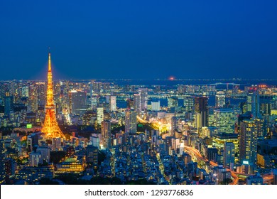 TOKYO, JAPAN - MAY 14: Tokyo cityscape scene night time from sky view of the Roppongi Hills Building on May 14, 2018. Roppongi is a district of Minato, Tokyo, Japan.