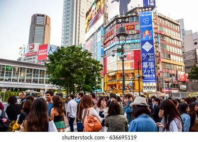 TOKYO, JAPAN - MAY 14: Crowds and people at Shibuya, the famous fashion centers in Tokyo, Japan. May 14, 2016