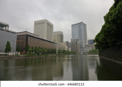 TOKYO, JAPAN - May 15, 2017 : Cityscape around  Imperial Palace It is located near Yurakucho Station or Hibiya station. It is the residence of the present Emperor and Empress.