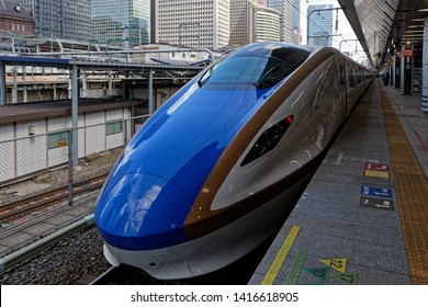 TOKYO, JAPAN, May 16, 2019 : Blue aerodynamic train. Shinkansen is a network of high-speed railway lines in Japan, also known in English as the bullet train.