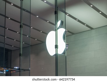 TOKYO, JAPAN - MAY 17TH, 2017. Apple Inc store front in Omotesando, Tokyo. Apple is an American multinational technology company and is the world's largest information technology company by revenue.