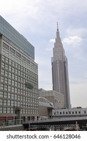 TOKYO JAPAN May 18, 2017: cityscape around Shinjuku Station Shinjuku is one of Tokyo's business districts. There are many skyscrapers, such as Hotels, office buildings.