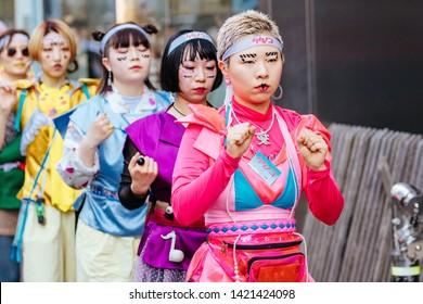 Tokyo, Japan - May 18 2019: Street life portraits of amazing fashion and culture, including cosplay in Harajuku, Tokyo, Japan