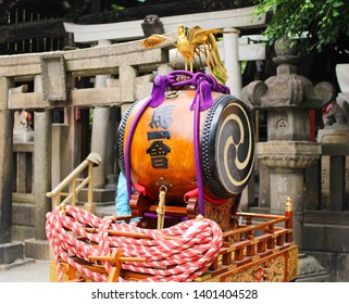 TOKYO, JAPAN- May 19, 2019 - A ritual drum (Taiko) for the Sanja Festival in Asakusa. It is one of the most popular festivals in Tokyo.