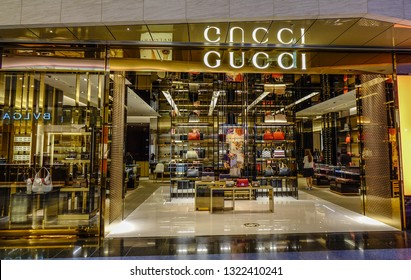 Tokyo, Japan - May 20, 2017. Gucci Boutique in Haneda Airport (Japan). Gucci (founded 1921) is an Italian luxury brand of fashion and leather goods.