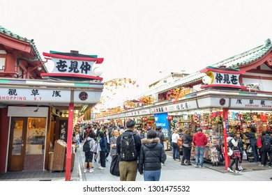 TOKYO, JAPAN - MAY 20: People are shopping in Nakamise Shopping Street, Tokyo's most visited tourist destination at Sensoji Temple, Asakusa, Japan