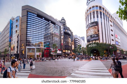 Tokyo, JAPAN - May 22, 2017: panoramic view of a crossroads near Shibuya with crowds of people waiting to cross