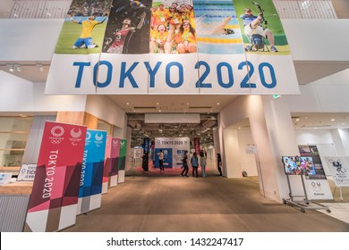 Tokyo, Japan - May 22 2019: Promotional event to recruit volunteers for the organization of the 2019 Olympic and Paralympic Summer Games to be held in Japan