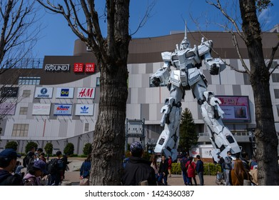 TOKYO, JAPAN - May 23, 2019 : Odaiba real-size Unicorn Gundam statue model in front of Diver City plaza Tokyo in Odaiba.