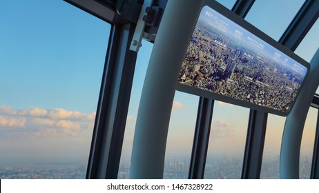 Tokyo, Japan - May 24th, 2018 : A view of Tokyo city from the famous attraction, Tokyo Skytree during sunset hours.
