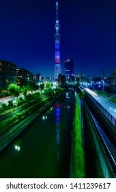 TOKYO, JAPAN MAY 25, 2019, Tokyo Skytree, Sumida Ward Urban night scene. Tokyo Skyline with Skytree at night