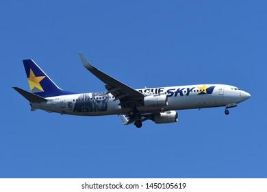 "Tokyo, Japan - May 25, 2019:Skymark Airlines Boeing B737-800 (JA73NY) passenger plane. ""BJ League"" livery."