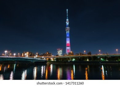 Tokyo, Japan, May 25-27, 2019, Tokyo Skytree -  US President's visit to Japan, Memorial, Special light up, Stars and stripes colors