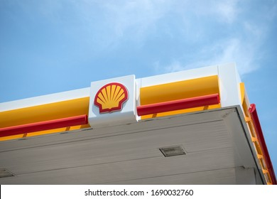 Tokyo, Japan - May 26, 2018. Shell logo on a gas station. Shell is a British-Dutch oil and gas company headquartered in the Netherlands and incorporated in the United Kingdom.