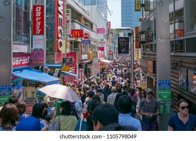 Tokyo, Japan - May 27, 2018: The Harajuku district of Tokyo is a popular centre of youth culture and fashion and attracts large weekend crowds