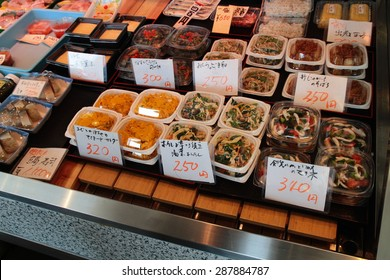 Tokyo, Japan â?? May 28, 2015: Variety of Japanese salad and snack food at Nishiki food market