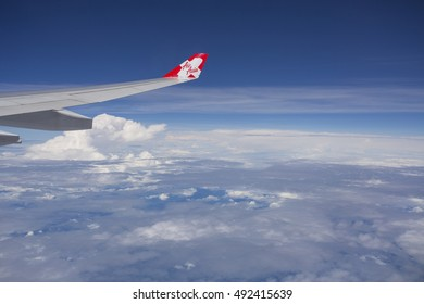 TOKYO JAPAN MAY 29 2016:View from AirAsia plane flying in sky to Tokyo, Japan on 29 May 2016.