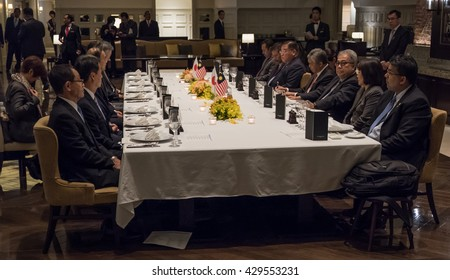 TOKYO, JAPAN - MAY 30TH, 2016. Deputy Prime Minister of Malaysia Ahmad Zahid Hamidi in a meeting with Japanese officials.