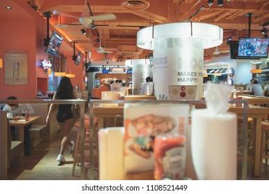 TOKYO, JAPAN - MAY 31, 2018. Restaurant environment inside Hooters restaurant in Ginza, Japan.