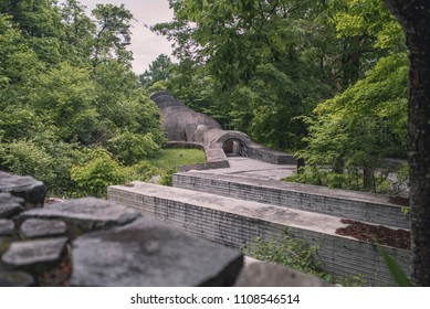 Tokyo, Japan - May 31, 2018: Uchimura Kanzo Memorial Stone Church was built in 1988 by the American architect Kendrick Kellog at Hoshino Area or Karuizawa.