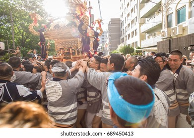 Tokyo, Japan - May 4 2017: A group of people celebrate the festival of Kuramae Shrine in Tokyo.