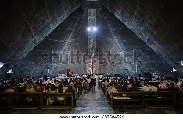 Tokyo, Japan - May 4 2017: The worshiper is lining up for communion during a mass in St Mary's Cathedral.
