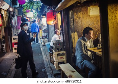 Tokyo, Japan - May 5 2017: The famous Omoide Yokocho with Neon light at night in Shinjuku. Full of restaurants and bars in the neighborhood.