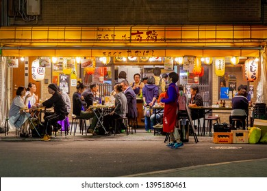 Tokyo, Japan - MAY 5: People having dinner at street food restaurant in Asakusa, Tokyo on May 5 2018. Asakusa is one of the most popular area in Tokyo, Japan.