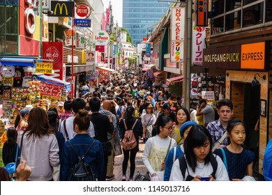 Tokyo, Japan - May 7, 2017:  Unidentified people visit Takeshita street in Harajuku, famous of unique Japanese cosplay street fashion and costume shopping center.