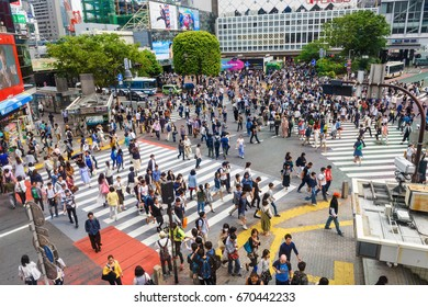 TOKYO, JAPAN - MAY 7, 2017: Unidentified people at Shibuya crossing. Here is very famous of scramble crosswalk in the world.