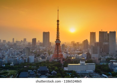 Tokyo, Japan - May 8, 2017: Tokyo tower architecture at sunset from World Trade Center building view. The observatory is famous to see cityscape with Tokyo tower.