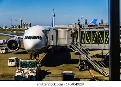 Tokyo, Japan - May 8, 2019: All Nippon Airways arrived at Tokyo Haneda Airport International Terminal.