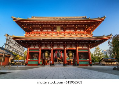 TOKYO, JAPAN - NOV 13, 2016: Morning view around Sensoji Temple in Tokyo. Oldest temple in Tokyo and on of the most significant Buddhist temples located in Asakusa.