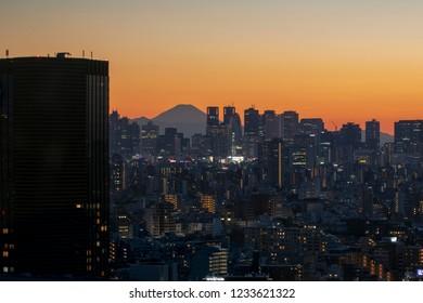 Tokyo, Japan - Nov 17 2018 - View of tokyo sky twilight with MT.fuji sunset