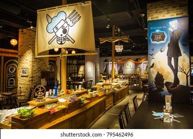 Tokyo Japan - Nov 2017: Lunch buffet display on a pirate ship table at Sanji's Oresama Restauran, Tokyo One Piece Tower