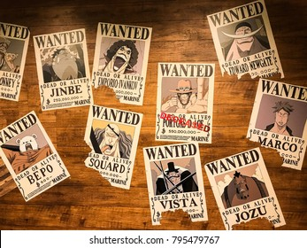 Tokyo Japan - Nov 2017: Notice of arrest with big money reward for key characters in the story of One Piece, posted on the wall inside the attraction, Tokyo One Piece Tower Theme Park