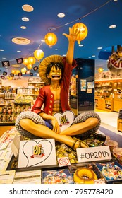 Tokyo Japan - Nov 2017: A real-sized figure of Straw Hat Luffy sitting outstandingly in the souvenir shop on 1F, Tokyo One Piece Tower