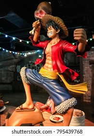 Tokyo Japan - Nov 2017: Visiting Tokyo One Piece Tower theme park, with real-sized model of key characters displayed inside