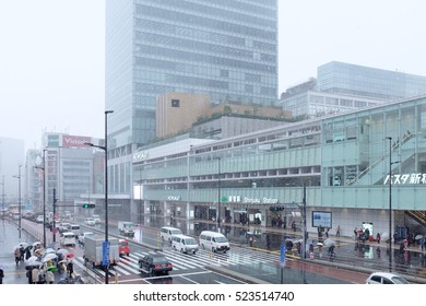 Tokyo, Japan - Nov 24, 2016: Shinjuku New Bus Terminal in Snowy day.It is the first time in 54 years to have snow in November in Kanto area.