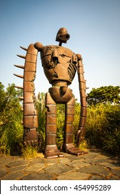 Tokyo, Japan - November 08, 2010:  A statue of a robot from the Studio Ghibli film 'Laputa: Castle in the Sky' stands guard on the rooftop of the Ghibli museum