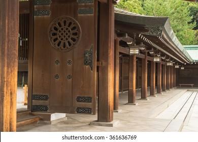 TOKYO, JAPAN - NOVEMBER 12, 2015: Meiji Shrine is a shrine dedicated to the deified spirits of Emperor Meiji and his consort, Empress Shoken. Located just beside Harajuku Station.
