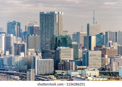 Tokyo, Japan - November 12, 2016: Cityscape view of Tokyo in the cloudy day.