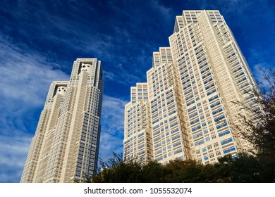 TOKYO, JAPAN - NOVEMBER 12, 2017: Tokyo Metropolitan Government Buildings No1 and No 2, knows as Tocho, built in 1990 in Shinjuku district and designed by famous japanese architect Kenzo Tange