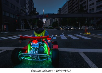 Tokyo, Japan - November 12, 2017 : Marikart tour ,dress up the character of mario and drive gokart decor with lighting  around tokyo city and famous place such as shibuya,shinjuku,odaiba,ikebukuro,har