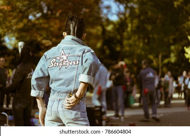 TOKYO, JAPAN - NOVEMBER 12, 2017: Yoyogi's rockabillies dancing in the park on a Sunday. Rockabilly dance crews gather at the Harajuku entrance of Yoyogi Park and perform to 1950s rock 'n roll music.