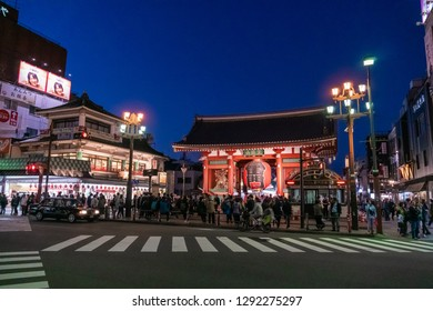 TOKYO, JAPAN - NOVEMBER 14, 2018: Night scene of Kaminarimon Gate of Sensoji temple. Sensoji temple is the most famous temple in Asakusa, Tokyo prefecture, Japan