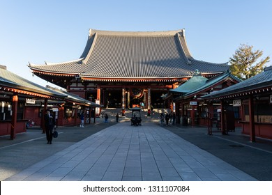 TOKYO, JAPAN - NOVEMBER 15, 2018: Day scene of Sensoji temple with crowded tourist. Sensoji temple is the most famous temple in Asakusa, Tokyo prefecture, Japan